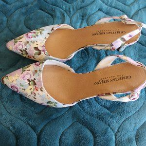 CHRISTIAN SIRIANO FLORAL SLING BACK HEELS